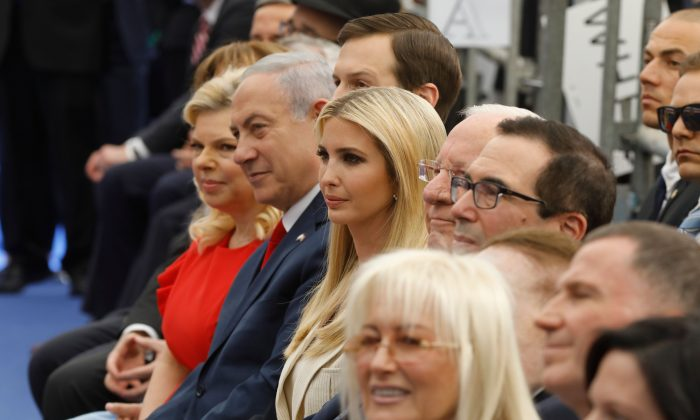 Israel's Prime Minister Benjamin Netanyahu (2nd L), his wife Sara Netanyahu (L), Senior White House Advisor Jared Kushner (3rd L), US President's daughter Ivanka Trump, US Treasury Secretary Steve Mnuchin and US ambassador to Israel David Friedman  attend the oepning of the US embassy in Jerusalem on May 14, 2018. (MENAHEM KAHANA/AFP/Getty Images)