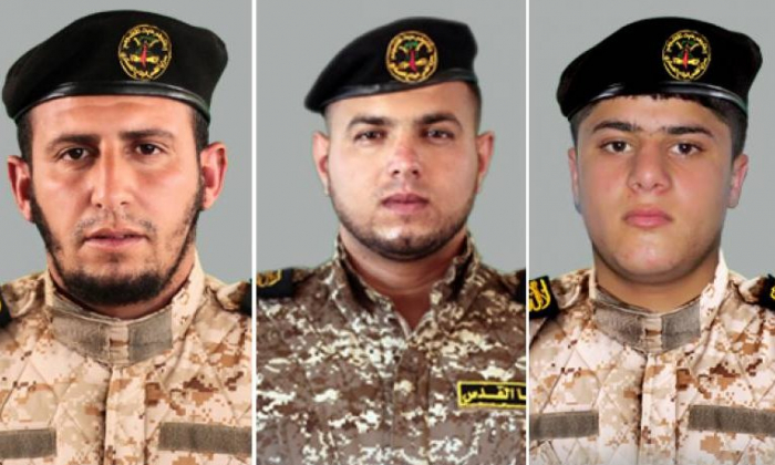 Photos of three members of the Saraya al-Quds terrorist group killed on the Gaza border on Monday, May 14. (Saraya)