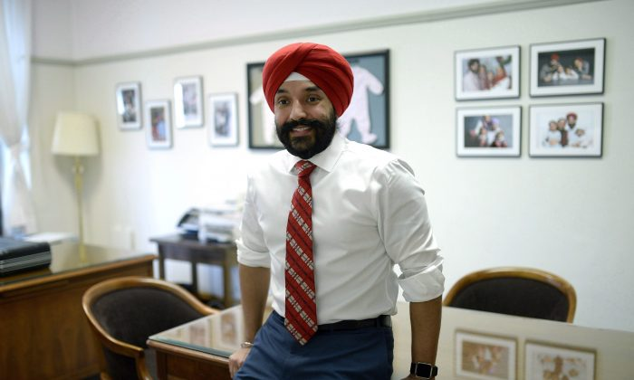 Minister of Innovation, Science and Economic Development Navdeep Bains at his Parliament Hill office on May 1, 2018. (The Canadian Press/Justin Tang)