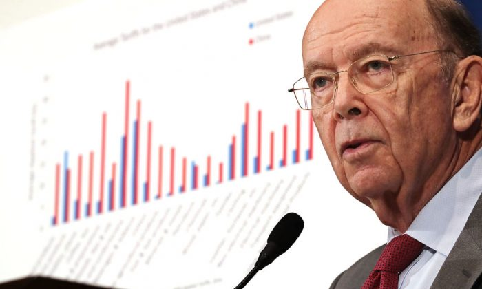 U.S. Commerce Secretary Wilbur Ross delivers keynote remarks during the Newsmakers Luncheon at the National Press Club in Washington on May 14. (Chip Somodevilla/Getty Images)