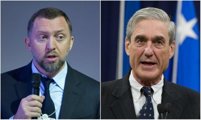 L: Oleg Deripaska in Davos, Switzerland, on Jan. 23, 2013. (JOHANNES EISELE/AFP/Getty Images); R: FBI Director Robert Mueller at the U.S. Department of Justice on Aug. 1, 2013. (SAUL LOEB/AFP/Getty Images)