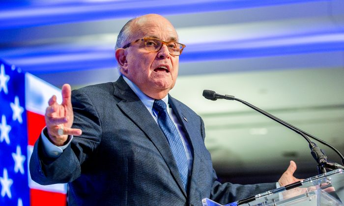 President Donald Trump's lawyer and former Mayor of New York City Rudy Giuliani in Washington on May 5, 2018. (Tasos Katopodis/Getty Images)
