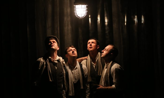 "(L–R) Kieran Knowles, Salvatore D'Aquilla, James Wallwork, Christopher McCurry in ""Operation Crucible."" (Carol Rosegg)"