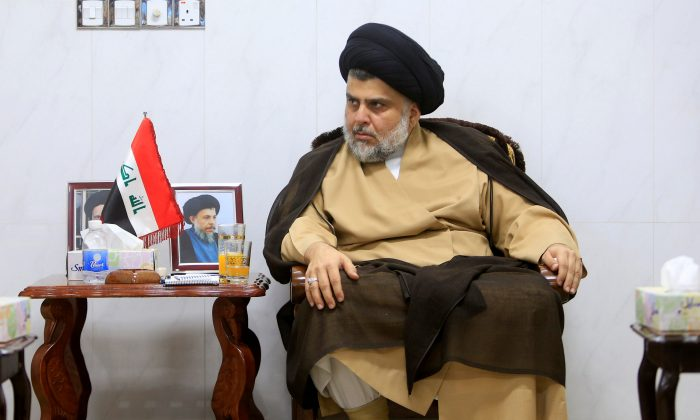 Iraqi Shi'ite cleric Muqtada al-Sadr meets with ambassadors of Turkey, Jordan, Saudi Arabia, Syria and Kuwait, in Najaf, Iraq May 18, 2018. (Reuters/Alaa al-Marjani)