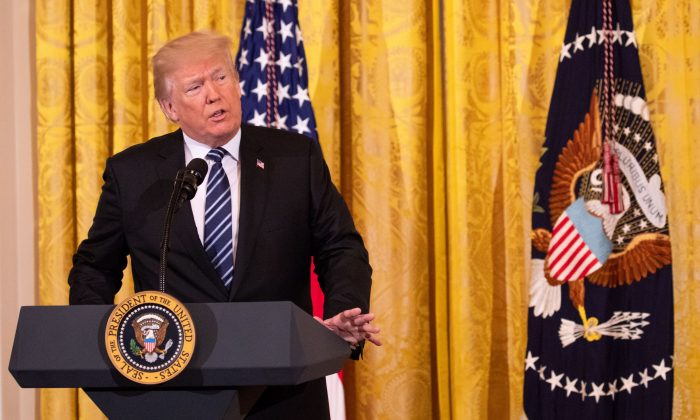 President Donald Trump delivers remarks at the Prison Reform Summit in the East Room of the White House in Washington on May 18, 2018. (Samira Bouaou/The Epoch Times)