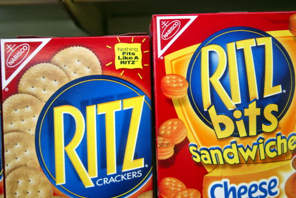 Ritz crackers are displayed on a store shelf July 1, 2003 in Miami, Florida. (Joe Raedle/Getty Images)