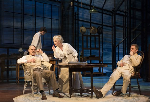 "(L–R) James Tyrone, Sr. (Jeremy Irons), Edmund (Matthew Beard), Mary Tyrone (Lesley Manville), and Jamie (Rory Keenan), a tight knit-family, in Eugene O'Neill's autobiographical ""Long Day's Journey Into Night."" (Hugo Glendinning)"