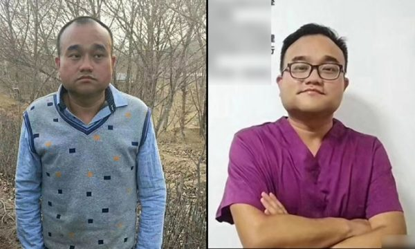 Chinese doctor Tan Qindong, 39, posts before being detained (right) and after being released from a detention facility in Inner Mongolia for three months on April 17, 2018. (The Epoch Times)