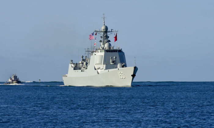 Chinese People's Liberation Army (Navy) (PLAN) Luang II class guided-missile destroyer Xian (153) arrives at Joint Base Pearl Harbor-Hickam for Rim of the Pacific (RIMPAC) in 2016. The United States has disinvited China from participating in the 2018 RIMPAC exercise, citing Beijing's recent aggression in the South China Sea. (U.S. Navy Photo By Mass Communication Specialist 2nd Class Somers Steelman)