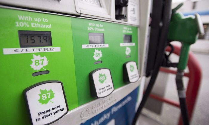 A gas pump in Vancouver, B.C. on April 30, 2018. (The Canadian Press/Jonathan Hayward)