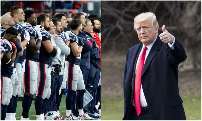 L: Members of the New England Patriots stand during the National Anthem before the AFC Championship Game against the Jacksonville Jaguars at Gillette Stadium in Foxborough, Mass., on Jan. 21, 2018. (Elsa/Getty Images); R: President Donald Trump in Washington, D.C., on Jan. 1, 2018. (Samira Bouaou/The Epoch Times)