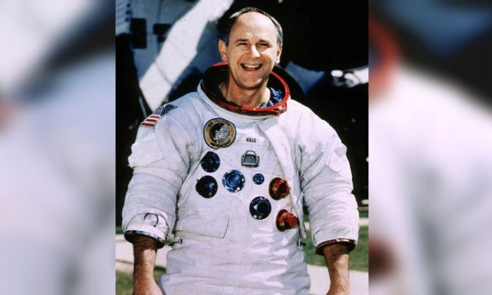 Retired Astronaut Alan Bean, 66, poses for a portrait in his spacesuit at the Johnson Space Center in Houston, Texas, U.S., in this undated photo. (Reuters/Stringer/File Photo)