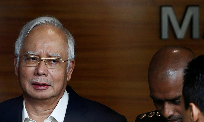 Malaysia's former prime minister Najib Razak arrives to give a statement to the Malaysian Anti-Corruption Commission (MACC) in Putrajaya, Malaysia on May 24, 2018. (Lai Seng Sin/Reuters)