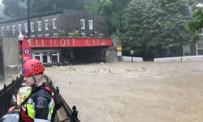 Flooding is seen in Ellicott City, Maryland, U.S. May 27, 2018, in this still image from video from social media. (Todd Marks/via Reuters)