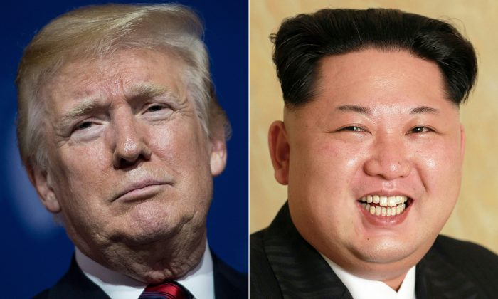 This combination of pictures created on May 24, 2018 shows U.S. President Donald Trump at the National Building Museum May 22, 2018 in Washington, DC, and an undated photo released by North Korea's official Korean Central News Agency (KCNA) on May 10, 2016 of North Korean leader Kim Jong-Un on May 9, 2016.  (BRENDAN SMIALOWSKI,KCNA/AFP/Getty Images)