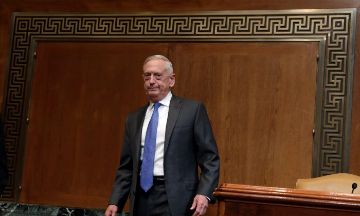 U.S. Defense Secretary James Mattis arrives to testify before the Senate Appropriations Defense Subcommittee hearing on funding for the Department of Defense, on Capitol Hill in Washington, U.S., May 9, 2018. (Reuters/Yuri Gripas)