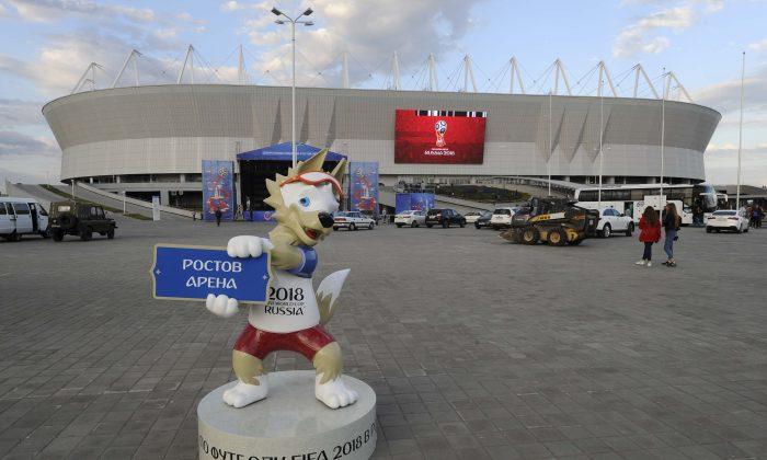 A general view shows the Rostov Arena, with the official mascot for the 2018 FIFA World Cup Zabivaka seen in the foreground, in Rostov-on-Don, Russia May 12, 2018. (Reuters/Sergey Pivovarov)