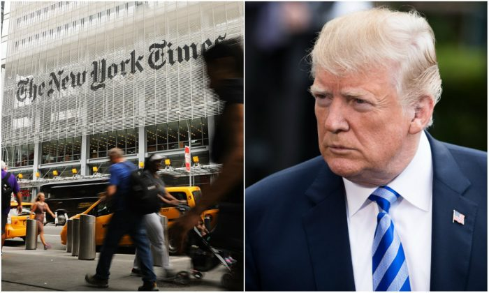 L: The New York Times building in New York City on July 27, 2017. (Spencer Platt/Getty Images); R: President Donald Trump on the South Lawn of the White House in Washington, D.C., on May 4, 2018. (Samira Bouaou/The Epoch Times)
