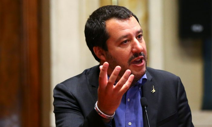 League party leader Matteo Salvini speaks at the media after a round of consultations with Italy's newly appointed prime minister Giuseppe Conte at the Lower House in Rome, Italy, May 24, 2018. (Reuters/Tony Gentile)