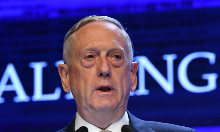 U.S. Defence Secretary James Mattis speaks during the first plenary session of the 17th Asian Security Summit of the IISS ShangriLa Dialogue in Singapore on June 2, 2018. (Roslan Rahman/AFP/Getty Images)