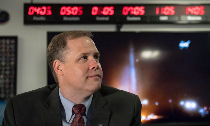 NASA Administrator Jim Bridenstine watches the launch of NASA's InSight spacecraft on May 5 at NASA Headquarters in Washington. (Aubrey Gemignani/NASA via Getty Images)