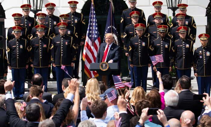 President Donald Trump participates in the Celebration of America on the South Lawn of the White House in Washington on June 5, 2018. (Samira Bouaou/The Epoch Times)