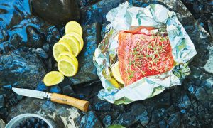 Foil-Packet Salmon With Lemon, Thyme, and Blueberry