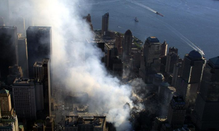 Smoke rises from the destoryed World Strade Center in New York City on Sept. 15, 2001. (KEITH MEYERS/AFP/Getty Images)