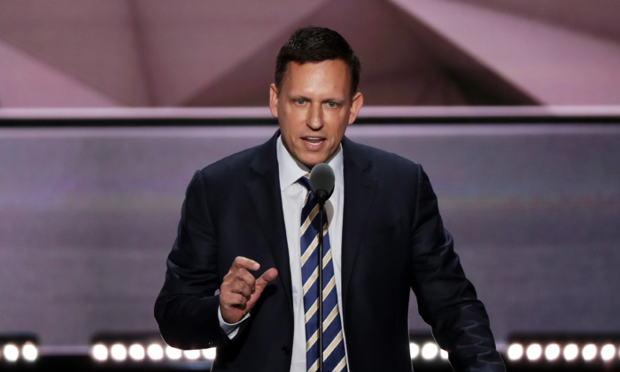 Peter Thiel, co-founder of PayPal, delivers a speech during the evening session on the fourth day of the Republican National Convention on July 21, 2016 at the Quicken Loans Arena in Cleveland, Ohio. (Alex Wong/Getty Images)