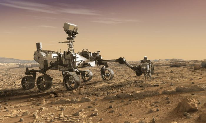 An artist's rendition of NASA's Mars 2020 rover. The Air Force is conducting tests for the unmanned vehicle. (NASA/JPL-Caltech)