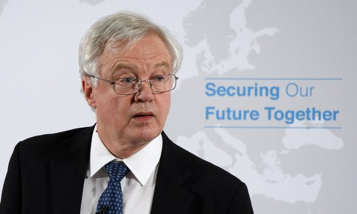 Britain's Secretary of State for Departing the EU David Davis delivers a speech on Britain's security relationship with the EU after Brexit, in London, June 6, 2018.  (Leon Neal/Pool via Reuters)