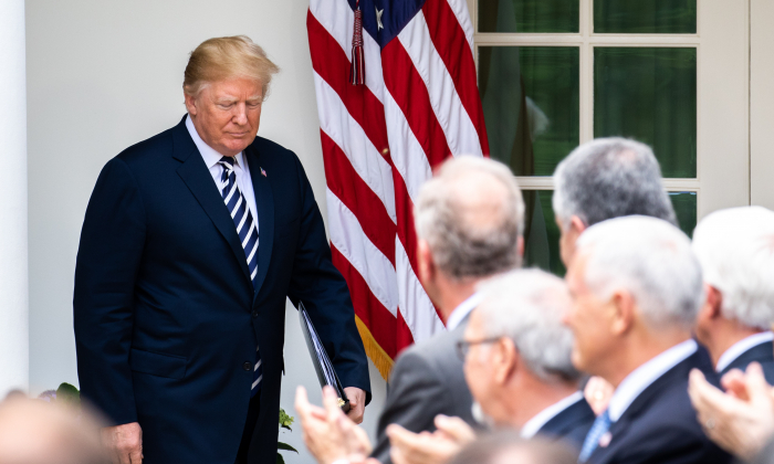 President Donald Trump at the Rose Garden of the White House in Washington on June 6, 2018. (Samira Bouaou/The Epoch Times