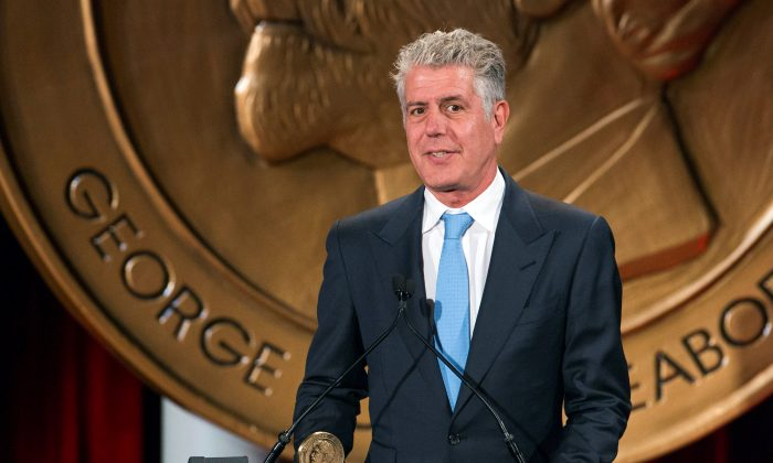 """Television personality Anthony Bourdain speaks about the show """"Parts Unknown"""" after the show won a Peabody Award in New York, U.S., May 19, 2014. (Reuters/Lucas Jackson/File Photo)"""