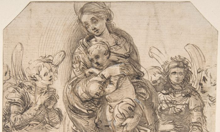 """Virgin and Child Attended by Angels,"" attributed to Filippino Lippi (circa 1457–1504). Pen and brown ink, brush and brown wash, highlighted with white gouache. Rogers Fund, 1968. (The Metropolitan Museum of Art)"