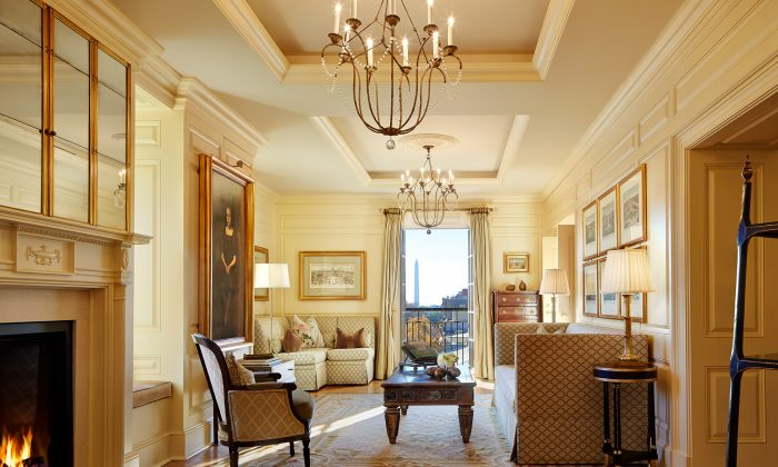 The Thomas Jefferson Suite at The Jefferson hotel in Washington, with a view of the Washington Monument. (Courtesy of The Jefferson)