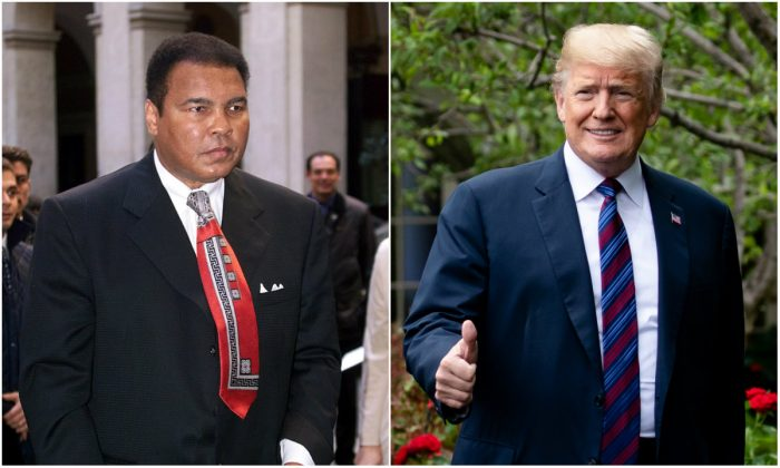 L: Former US heavyweight boxing legend Muhammad Ali in Rome on Dec. 7, 1999. (Gabriel Bouys/AFP/Getty Images); R: President Donald Trump on the South Lawn of the White House in Washington on May 30, 2018. (Samira Bouaou/The Epoch Times)