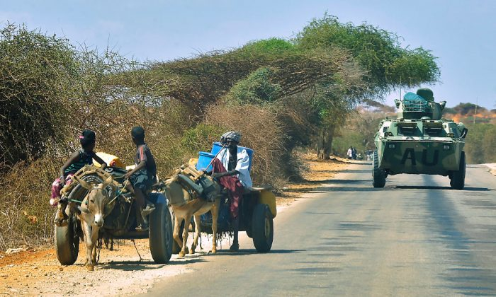 In this file image, an armoured vehicle of the African Union (AU) peacekeeping force patrols the streets of  Kismayo on November 15, 2016. (Simon Maina/AFP/Getty Images)