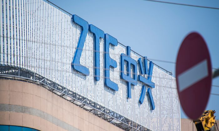 The ZTE logo is seen on an office building in Shanghai on May 3, 2018. (Johannes Eisele/AFP/Getty Images)