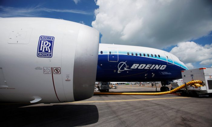 A view of one of two Rolls Royce Trent 1000 engines of the Boeing 787 Dreamliner during a media tour of the aircraft ahead of the Singapore Airshow in Singapore Feb. 12, 2012.   (REUTERS/Edgar Su/File Photo)