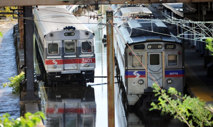 Trains remain idle at the Trenton Transit Center due to water on the tracks from Hurricane Irene on Aug. 29, 2011 in Trenton, New Jersey. (William Thomas Cain/Getty Images)