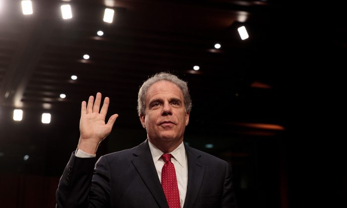 Michael Horowitz, Inspector General of the U.S. Department of Justice, is sworn-in during a Senate Judiciary Committee hearing titled 'Oversight of the Foreign Agents Registration Act and Attempts to Influence U.S. Elections' in the Hart Senate Office Building on Capitol Hill, July 26, 2017 in Washington, DC. (Drew Angerer/Getty Images)