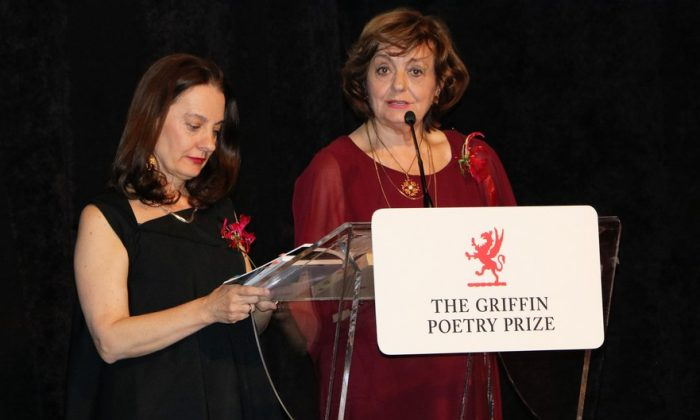Translator Viorica Patea and poet Ana Blandiana at the Griffin Poetry Prize awards ceremony in Toronto on June 7, 2018. (Maria Matyiku/The Epoch Times)
