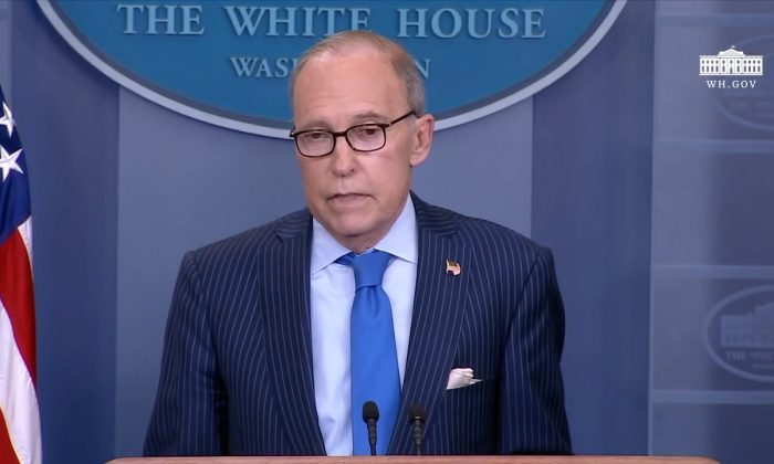 White House economic adviser Larry Kudlow gives a press briefing about upcoming G7 in the White House in Washington, U.S., June 6, 2018. (White House)