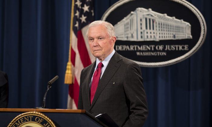 Attorney General Jeff Sessions speaks at a press conference at the Justice Department in Washington on Dec. 15, 2017. (Samira Bouaou/The Epoch Times)