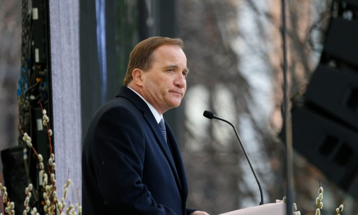 Prime Minister of Sweden Stefan Lofven gives a speech during a tribute to victims of Stockholm terrorist attack on the first anniversary on April 7, 2018 in Stockholm, Sweden. (Michael Campanella/Getty Images)