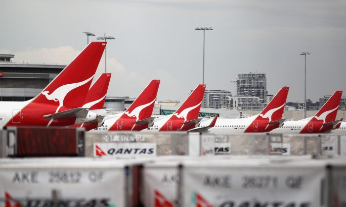 Qantas jets are seen grounded at the Qantas Domestic Terminal in Sydney, Australia, on Oct. 30, 2011. (Ryan Pierse/Getty Images)