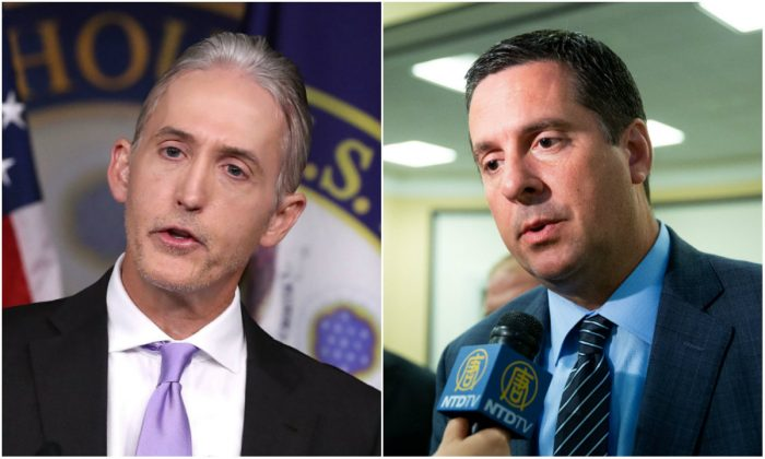 L: Rep. Trey Gowdy (R-S.C.), on Capitol Hill in Washington, D.C., on June 28, 2016. (Mark Wilson/Getty Images); R: Rep. Devin Nunes (R-Calif.) at U.S. Congress in Washington, D.C., on May 17, 2018. (Samira Bouaou/The Epoch Times)