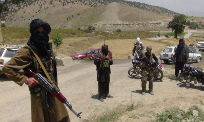 Fighters with Afghanistan's Taliban militia stand with their weapons in Ahmad Aba district on the outskirts of Gardez, the capital of Paktia province, on July 18, 2017. (FARIDULLAH AHMADZAI/AFP/Getty Images)