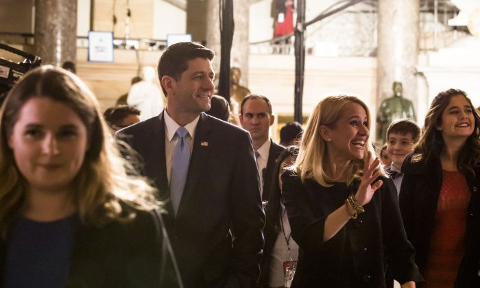 Speaker of the House Paul Ryan (R-Wis.) in the Statuary Hall of the Capitol building on the way to attending the State of the Union in Washington on Jan. 30, 2018. (Samira Bouaou/The Epoch Times)