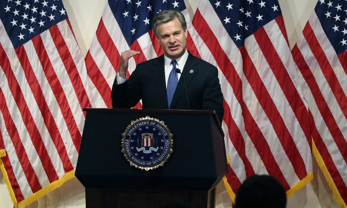 FBI Director Christopher A. Wray speaks to the media during a news conference at FBI Headquarters, on June 14, 2018 in Washington. (Mark Wilson/Getty Images)